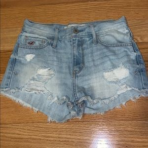 Distressed High Waisted Hollister Jean Shorts